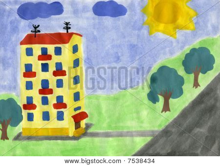 Child's Drawing Of Yellow House.