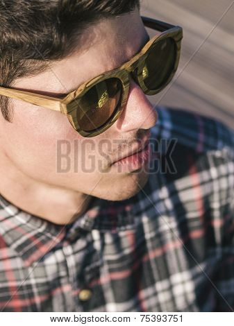 Model Man Portrait With Wooden Sunglasses