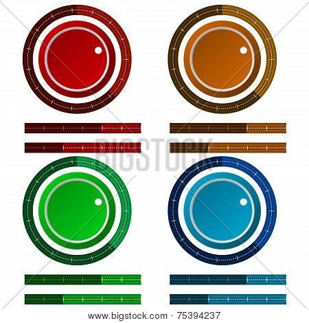 Vector icons for colored regulation switch scale