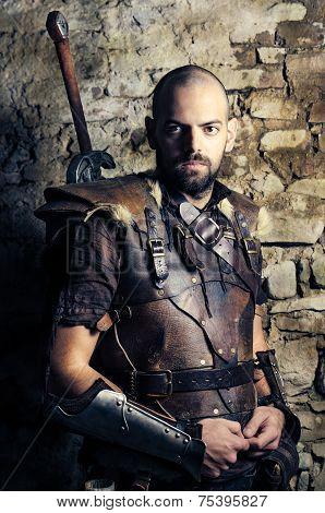 Ancient Medieval Warrior Preparing To Battle