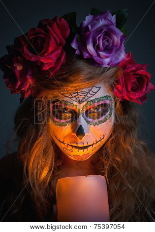 Halloween Witch. Beautiful Woman Wearing Santa Muerte Mask Portrait