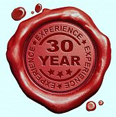 30 Year experience quality and jubileum label guaranteed product red wax seal stamp poster