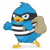 Clipart Picture of a Blue Bird Thief Cartoon Character poster
