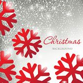 Abstract christmas card with silver snowballs background and red snowflakes poster