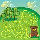 Maze game or activity page Help the bear to choose right way to forest - vector poster