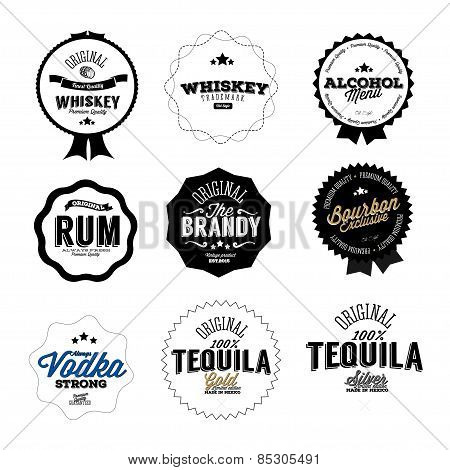 Premium Vintage Whiskey Alcohol labels and badges