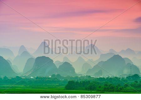 Guilin, China karst mountain landscape.