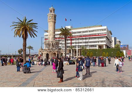 Konak Square With Tourists Walking Near Clock Tower