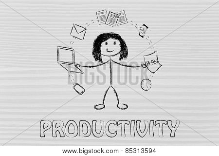 Business Woman Juggling With Office Objects, Concept Of Productivity