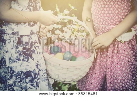 Two Girls Hands Holding An Easter Basket - Retro