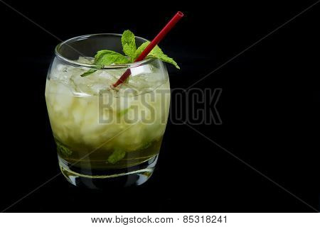 Mint Julep as Seen from the Side on Black Background
