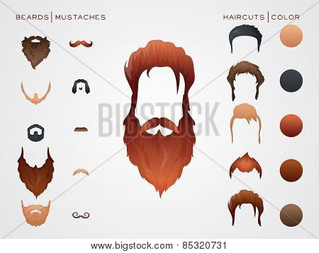 Beards and Hairstyles in constructor. Vector Illustration. poster