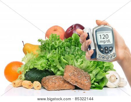 Diabetes Diabetic Concept. Measuring Glucose Level Blood Test On Organic Food