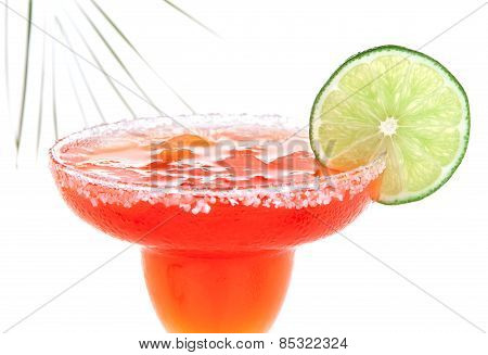 Red Margarita Cocktail With Mint And Lime Slice In Chilled Salt Rimmed Glass