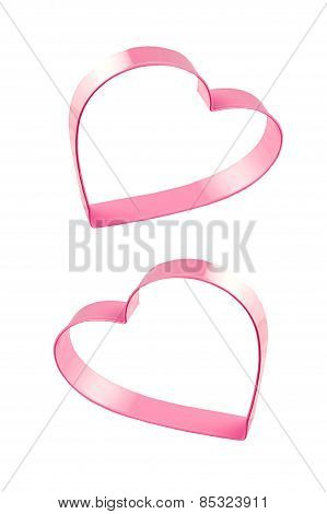 Pink Hearts On White Background