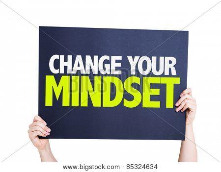 Change Your Mindset card isolated on white