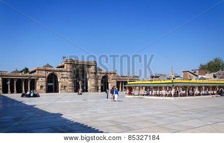 Ahmedabad, India - December 28, 2014: Muslim People At Jama Masjid In Ahmedabad