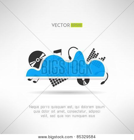 Music cloud icon. Online music storage technology. Social network concept. Vector illustration