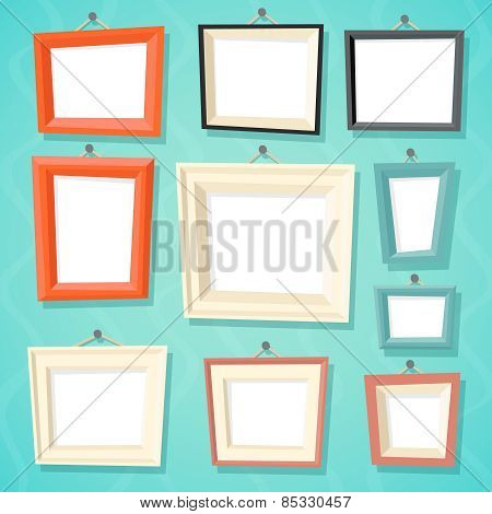 Vintage Cartoon Photo Picture Painting Drawing Frame Template Icon Set on Stylish Wall Background Re