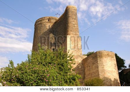 Old Medieval Tower In Baku, Azerbaijan On A Summer Day