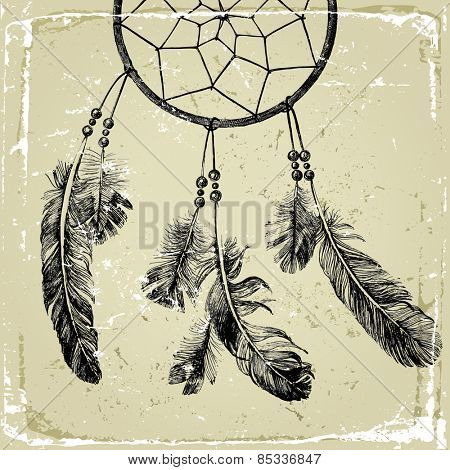 hand drawn indian dream catcher