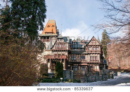 Winter vacation travel in Romania romantic castle poster