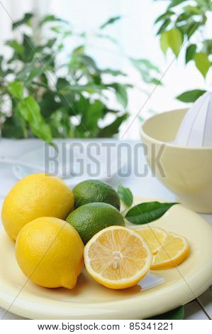 Citrus squeezer and fresh lemons being used to make fresh lemonade poster