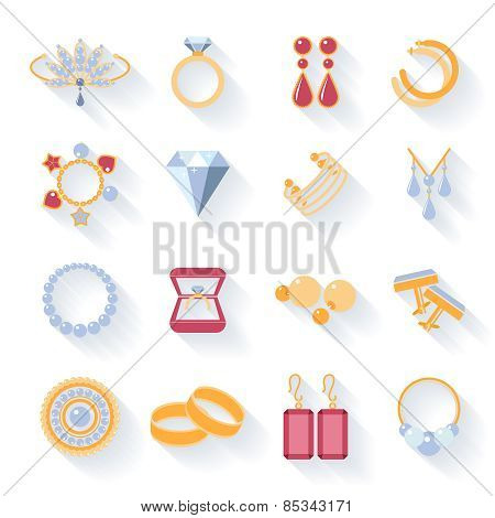 Earrings, rings, cufflinks and necklaces flat icons