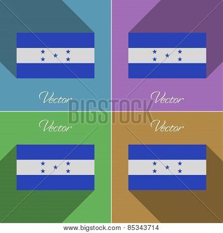 Flags Honduras. Set Of Colors Flat Design And Long Shadows. Vector