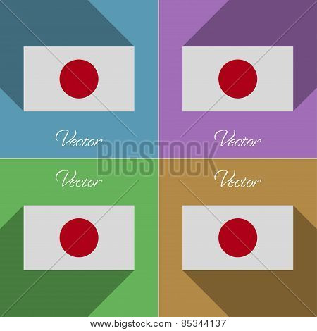 Flags Japan. Set Of Colors Flat Design And Long Shadows. Vector
