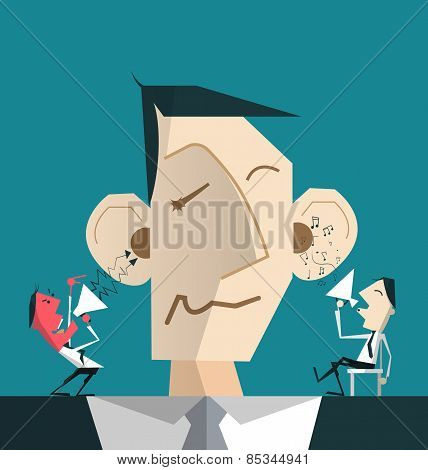 Cartoon Businessman With Devil And Angel Helping Him To Decide