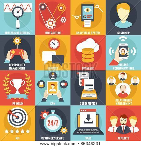 Set Of Customer Relationship Management Icons