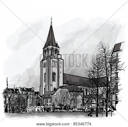 France, Paris, Ancient church Saint Germain des Pres - vector illustration