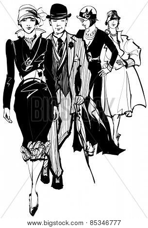 Group of people wearing 1910-1940 dress - vector illustration