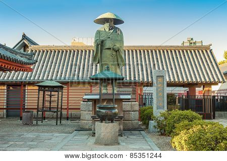 Shinran Shonin Statue in Osaka Japan