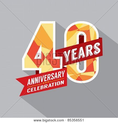 40th Year Anniversary Celebration Design Vector. EPS 10 poster