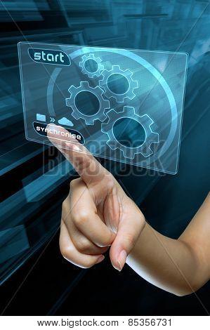 a woman finger transfer data