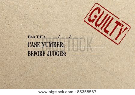 Paper texture with Guilty court folder
