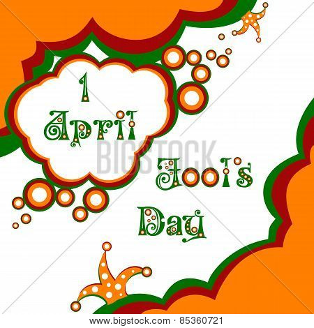 Postcard on April 1 - April Fool's day. Vector illustration poster