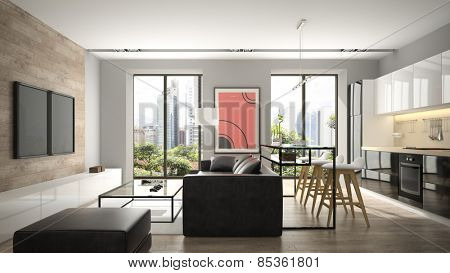 Modern interior with parquet floor and black sofa 3D rendering