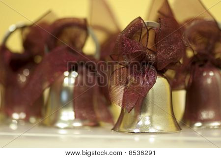 Close up focus on miniture wedding bell