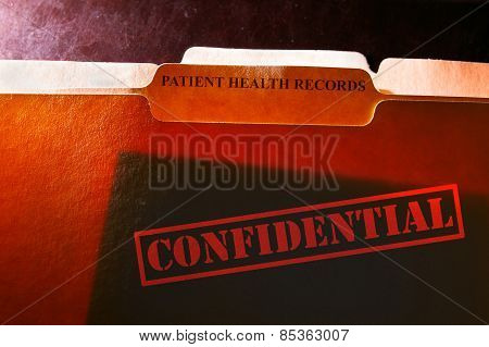 poster of file folders with Patient Health Records label and Confidential stamp