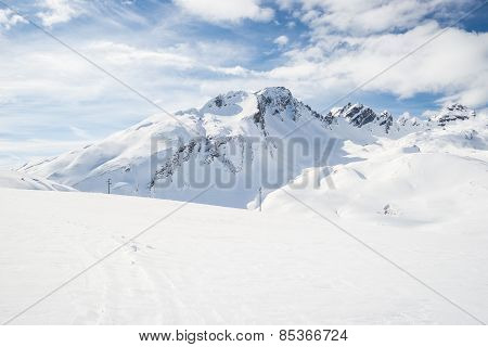 Majestic Mountain Peaks In The Alps