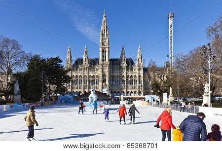 Ice Skating People At The Wiener Eistraum - Ice Rink In Front Of The Viennese City Hall
