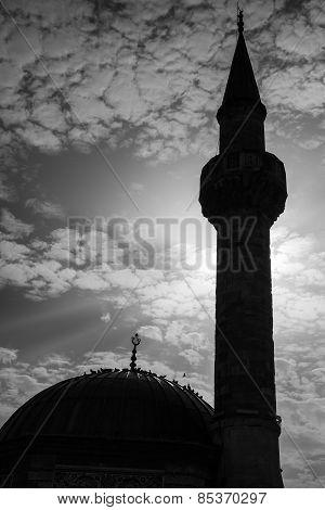Minaret Of Ancient Camii Mosque On Konak Square, Izmir