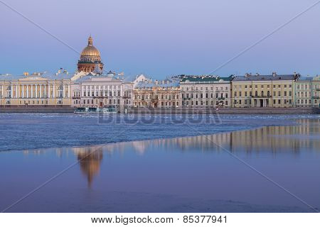 English Embankment, Neva And Saint Isaac's Cathedral, St. Petersburg