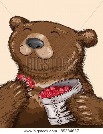 Bear Eating Raspberries