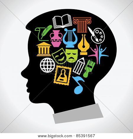 C?oncept art education. Set icons of creativity in the silhouette of the head of the child