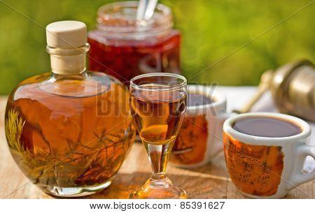 Plum brandy and coffee