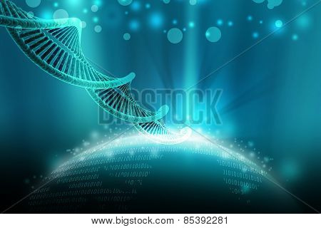 model of twisted chrome DNA chain in attractive color background poster